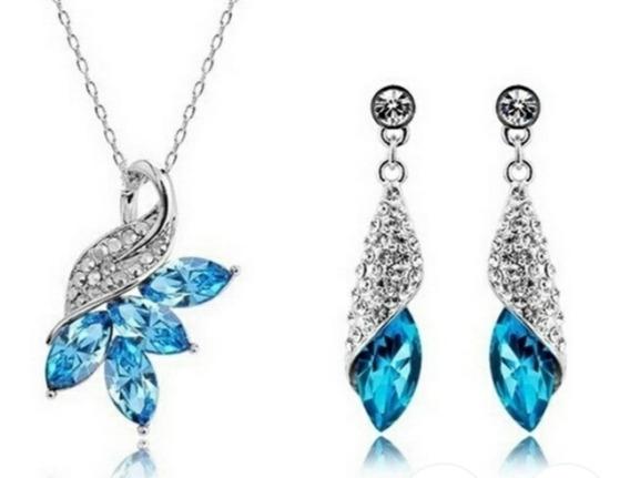 Colar +brincos Feminino Prata 925 Pedra Ametista Azul.