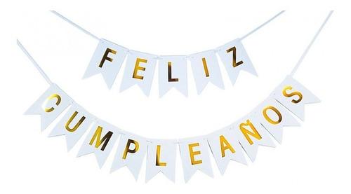 Guirnalda Letrero Feliz Cumpleaños Blanco Y Dorado Banderin