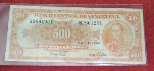 Imagen 1 de 3 de Billete De 500 Bolívares (canario), Año 1966