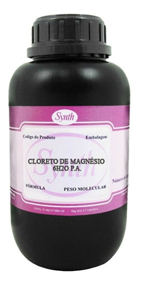 Cloreto De Magnésio Pa Puro Synth 500g C/ Laudo De Pureza