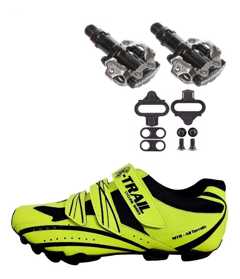 Combo Zapatilla Ciclismo Mtb + Pedales Shimano 520
