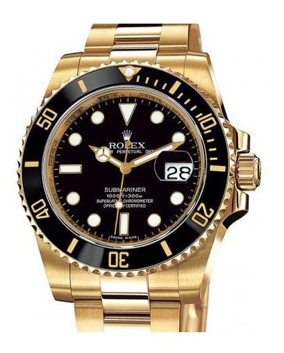 Relógio N715 Submariner Preto Puls. Ouro 18k