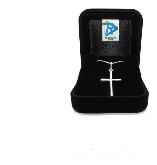 Corrente Cordão Prata 925 Masculina Com Pingente Crucifixo