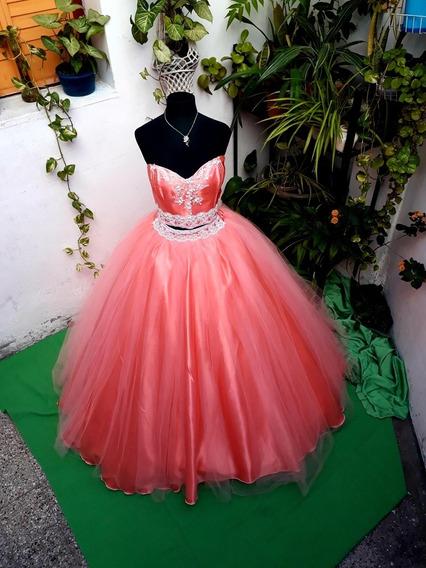 Vestido De 15Color Coral De Raso,tul Y Bordado