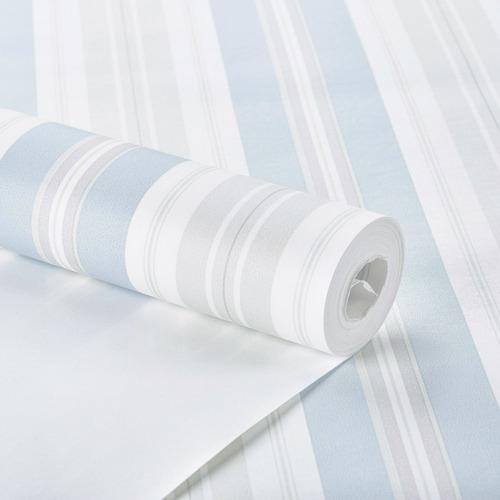 Imagem 1 de 4 de Papel De Parede Listrado Azul Branco Lavável Importado