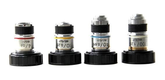 JENOR 4X 10X 40X 100X Lente de objetivo acrom/ático para microscopio biol/ógico 185