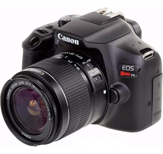 Câmera Canon Eos Rebel T6 + Lente Canon Efs 18-55mm