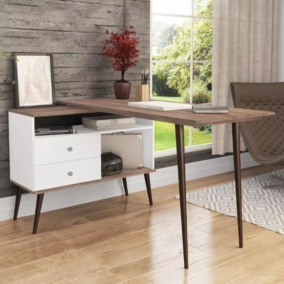Mesa Escrivaninha Para Computador Escritório Branco Rústico