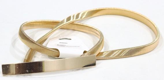 Cinto Feminino Elástico De Metal Dourado Fivela Dourada Lisa