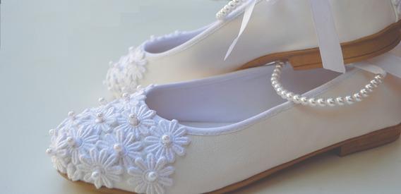 Zapato Novia Chatitas Casamiento Comunion Fiesta Perlas
