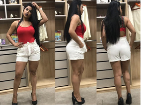 Short Linho Feminino Clochard Cintura Alta Colorido Atacado