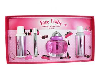 Set Fare Follie 4pzs 100 Ml Edt Spray + Shower Gel 120 Ml +