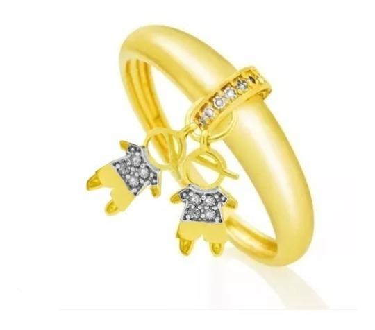 Anel De Ouro 18k Pingente Dois Meninos C/ Diamantes P02
