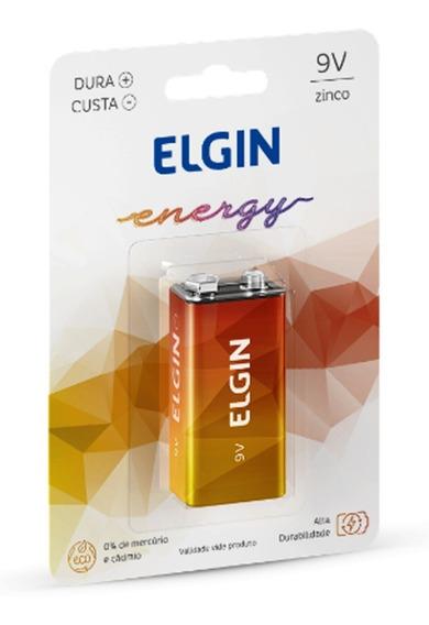 Pilha 9v De Zinco E Carvão Blister 1 Unidade Elgin Original