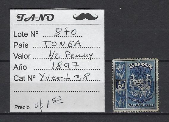 Lote870 Tonga 1/2 Penny Año 1897 Yvert# 38 Usado