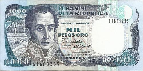 Colombia  1000 Pesos 1 Enero 1987 Imprenta Bogotá