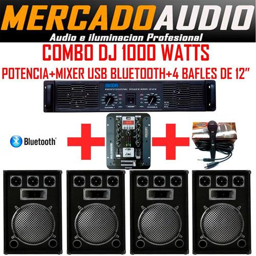 Imagen 1 de 6 de Combo Dj 1000 Watts Potencia+mixer Usb+bluetooth+4 Bafles 12