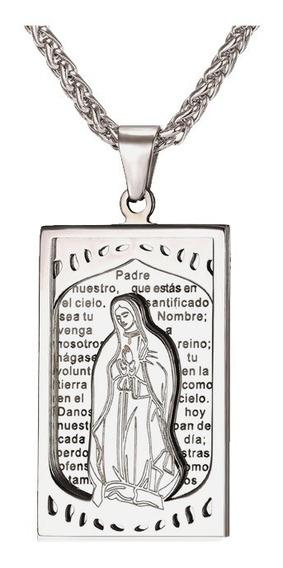 Gargantilha Virgem Maria E Pai Nosso Cordão Banhado A Prata