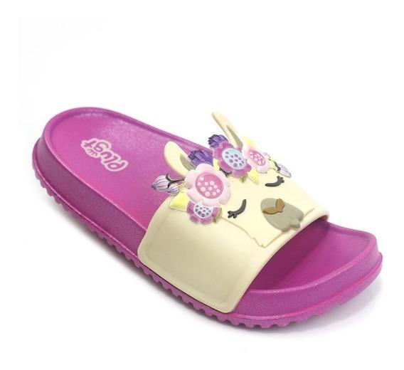 Chinelo Slide Infantil Feminino Plugt Lhama - Pink