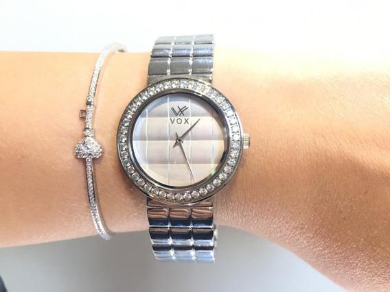 Relógio Vox Prata, Cravejado Em Zircônia