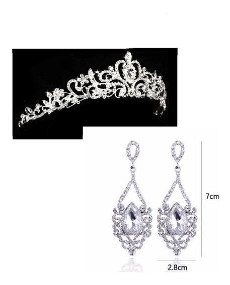 Coroa Tiara Noiva Debutantes Casamento Linda + Brinco + Nf