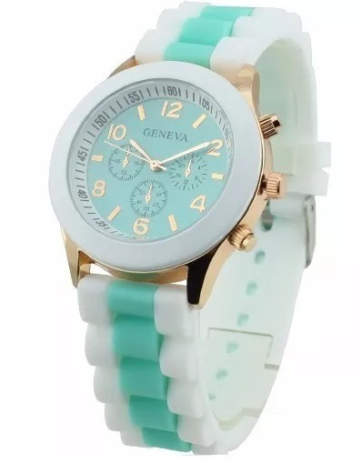 Relógio Geneva Branco E Verde Água - Silicone