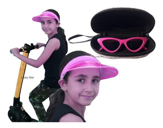 Óculos De Sol Infantil + Viseira Praia Transparente Anita