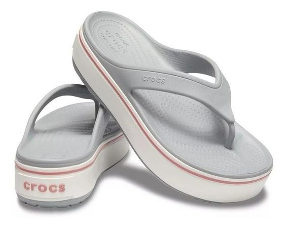 Ojotas Crocs Crocband Plataforma Flip Mujer Originales
