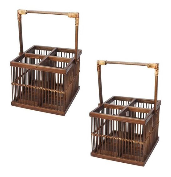 Conjunto 2 Porta Talheres Em Bambu Com 4 Divisórias E Alça