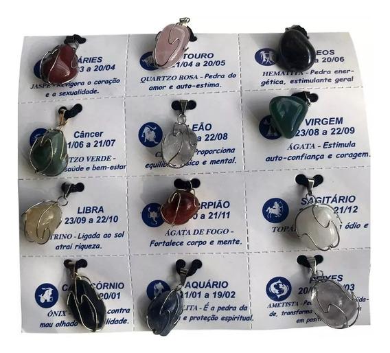 2 Kits De 12 Colares Cordão Pedras Signos Significados