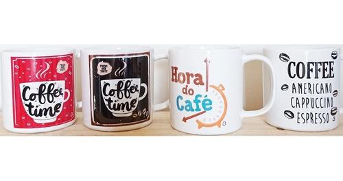 Imagem 1 de 6 de Caneca Xícara Café 100 Ml 4 Unidades