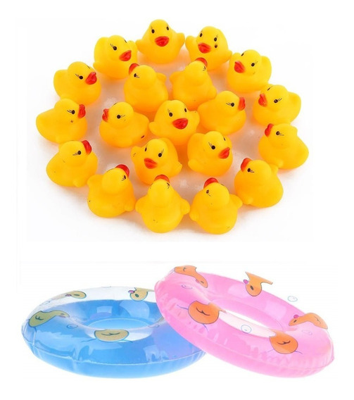 20 Patos De Hule Squeeze Con Salvavidas Recuerdos Decoraci