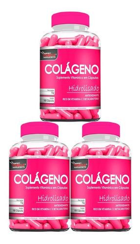 Imagem 1 de 5 de Kit 3x Colágeno Hidrolisado C/ Betacaroteno + Vit C 300caps