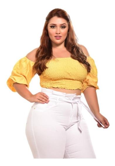 Calça Jeans Branca Feminina Plus Size Cintura Alta Com Lycra
