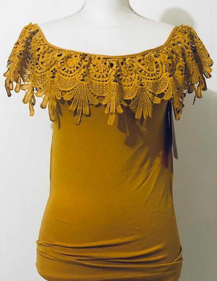 Blusa Mostaza Al Hombro Con Encaje One Size Elegante Strech