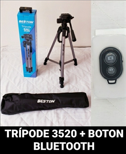 Trípode 3520 + Botón Bluetooth Con Soporte Para El Celular
