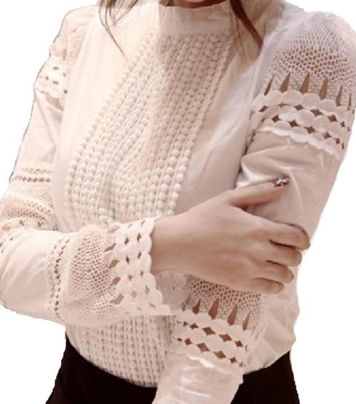 Blusa Camisa De Renda Feminina Croche Importado Bata Social