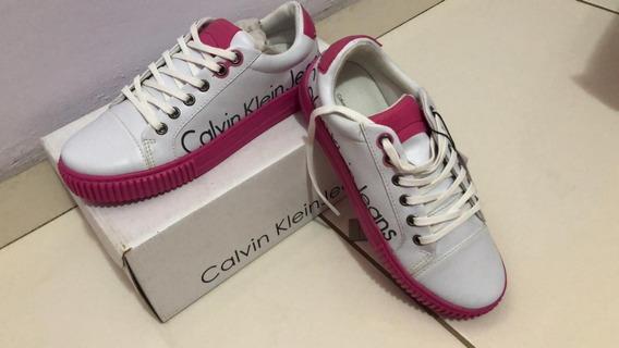 Tênis Calvin Klein Jeans 33/34 Rosa E Branco