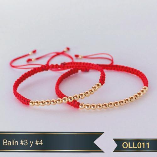 Pulsera Pareja Hilo Rojo Oro Laminado 18k Oll011