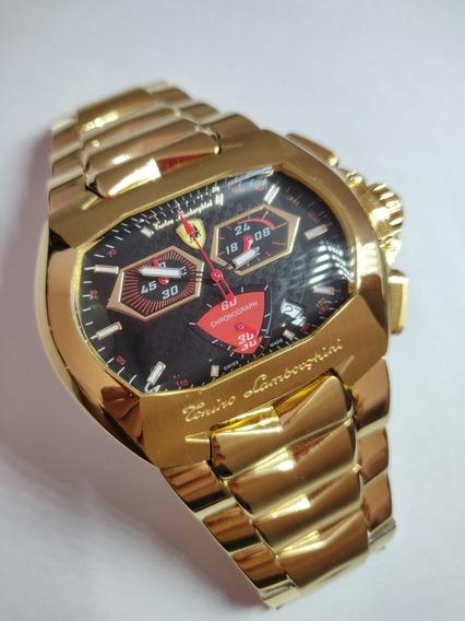 Relógio Lamborghini Dourado, Cronógrafo Vermelho!