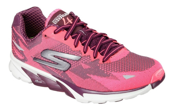 Skechers Zapatillas Mujer Go Run 4.2016 Bordo / Rosa
