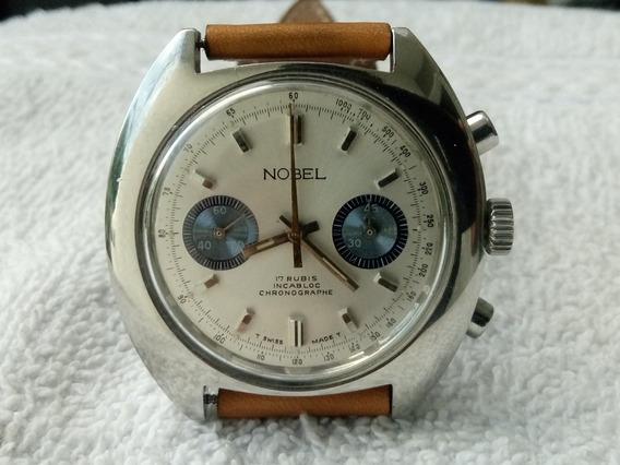 Reloj Nobel Cronografo En Acero Cuerda Valjoux 7733