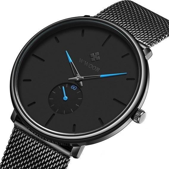 Relógio Masculino Preto Ultrafino Luxuoso C/ Caixa 8055