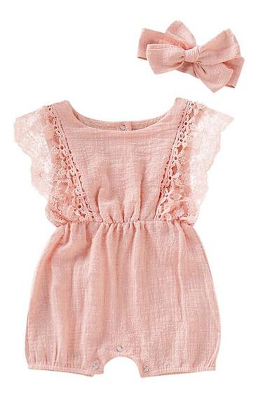 Vestido Bebé Niña Romper Jumpsuit Con Moñito Ropa Mameluco