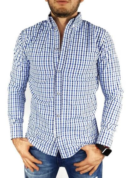 Camisa Cuadrada Para Hombre Manga Larga Slim Fit
