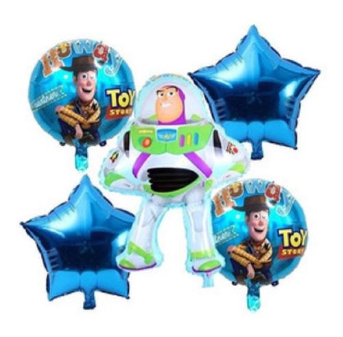 Set Globos Metalizado Buzz Lightyear Toy Story X5