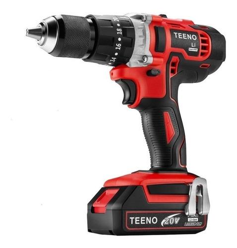 Imagen 1 de 1 de Taladro eléctrico percutor y destornillador Teeno 916 inalámbrico 1650rpm rojo 20V