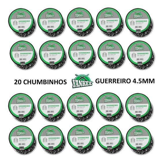 Super Kit 20 Chumbinhos Munição 4.5mm Yankee Guerreiro 4000u