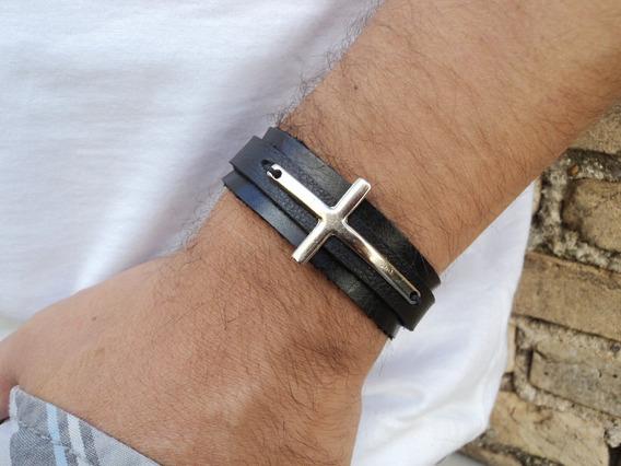 Pulseira Masculina Crucifixo Couro Marrom Preto Bracelete