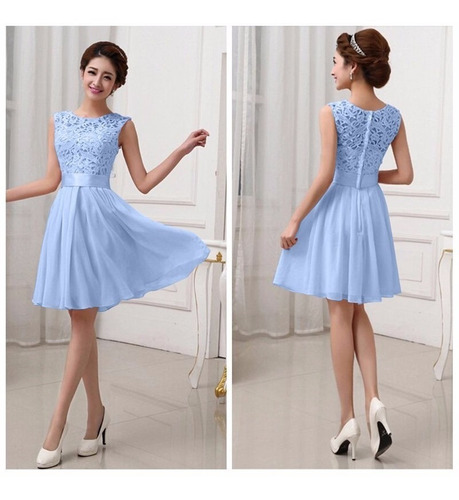 Vestido Azul Fashion Bordado Chiffon+lace Fiesta Grados //